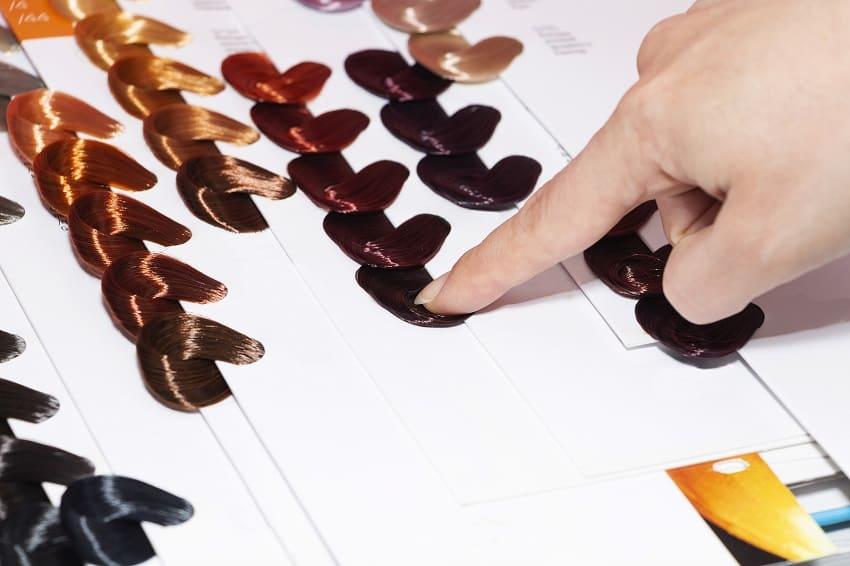 Festlegen der Ausgangs- und Endfarbe für das Haare färben
